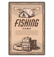 fisher tent boots and boat vintage poster vector image vector image