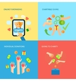 Giving hands 4 flat icons square banner vector image vector image