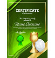 golf certificate diploma with golden cup vector image vector image