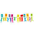 group people silhouettes jumping and holding vector image vector image