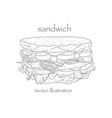 hand drawn sketch steak sub sandwich black vector image vector image