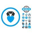Heart Award Flat Icon with Bonus vector image vector image
