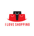 i love shopping black red bag background im vector image vector image