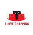 i love shopping black red bag background im vector image
