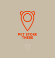 logo pet store cat map marker vector image vector image