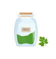 minced and dried parsley stored in glass jar vector image vector image