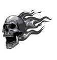 monochromatic skull on fire with flames vector image vector image