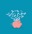 piggy bank expelling money into air piggy vector image