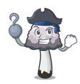 pirate shaggy mane mushroom character cartoon vector image vector image