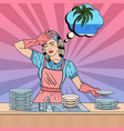 pop art woman washing dishes vector image vector image