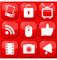 red technology app icon set Eps10 vector image