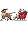 santa ride sleigh with reindeer vector image vector image