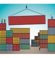 Sea container lading shipping loading cargo vector image