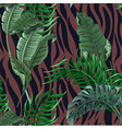 seamless zebra skin pattern with tropical leaves vector image vector image