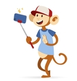 Selfie photo monkey ape boy hipster with cap vector image