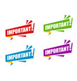 set color ribbon important with exclamation mark vector image