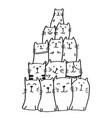 set funny cats cute hand drawn doodle kittens vector image vector image