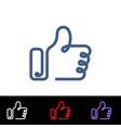 set icon thumbs up outline symbols like for vector image vector image