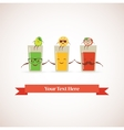 Tasty fresh squeezed hipster glasses of juices and vector image vector image