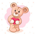 teddy bear with pink heart for printing on t vector image vector image