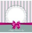 valentines card with a bow vector image vector image