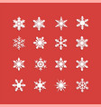 white snowflakes icon on red background vector image vector image