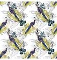 Wild Pheasant animals birds in watercolor floral vector image vector image