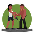 woman and man greet each other vector image