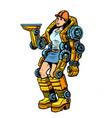 woman loader exoskeleton vector image
