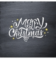 Merry Christmas handdrawn greetings on chalkboard vector image