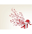 Opened gift box with flying hearts Valentines card vector image