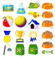 19 colorful cartoon pet shop elements set vector image vector image