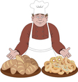 Baker offers the bread and buns vector image