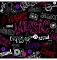 Black seamless music background vector image