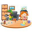 boy and girl cleaning living room vector image vector image