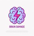 brain damage thin line icon vector image