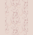 bunny rabbit pattern lineart cute spring vector image vector image