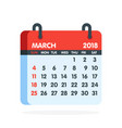 calendar for 2018 year full month of march icon vector image