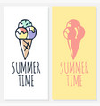 calligraphy summer time with ice cream icon drawn vector image vector image