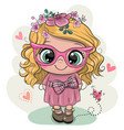 cartoon girl with flowers on a white background vector image vector image