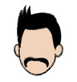 cartoon head man mustache faceless icon vector image