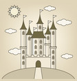 castle of princess with clouds and sun vector image