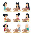 chinese culture people characters vector image