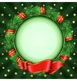 christmas circular frame of fir branches vector image vector image