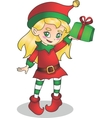 Christmas elf girl character with present