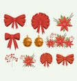 christmas set decorative ribbons bows and vector image vector image