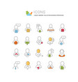 collection linear icons business profession vector image