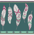 colorful set of ethnic decorative feathers vector image vector image