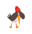 cute woodpecker covering his eyes with wings vector image vector image