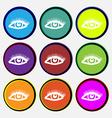 eyelashes icon sign Nine multi colored round vector image